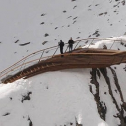 Astearchitecture have completed a mountain-top viewing platform above a glacier in Tyrol, Austria.