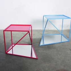"Shelving and a side table based on ""perfect"" 3D geometry, Reorganised by Philipp Beisheim rearranges the Platonic solids, those ideal forms with each face equal in size and shape."