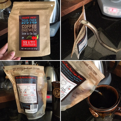 Up close with Trader Joe's/Grower's Cup Pour Over Coffee Brewer... that you brew in the bag! Fun, innovative packaging design - that's reusable too.