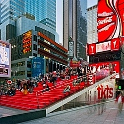 The TKTS box office right in the middle of Times Square. Giant public steps. Could not expect less from a project in one of the most crowded public spaces.