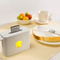 """Toasty Charger"" - you simply slide your lithium ion battery into the slot, push the handle down and wait for it to pop back up again."