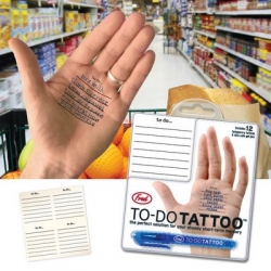 """The """"To-Do Tatttoo"""" tattoos are temporary, and the base lines, is a pen with ink gel, simply type the notes, lists of purchases, school glue, and metier etc, the basis and if tattooing."""