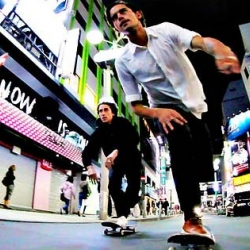 Dylan Rieder and Sammy Winter skating through the bright lights of Tokyo.