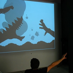 Shadow Monsters: monsters materialise from the shadows cast by the hands of participants, reacting to and elaborating on their gestures with sound and animation