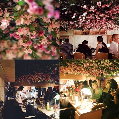 Tokyo Record Bar NYC - what a ceiling of fake vines and flowers!
