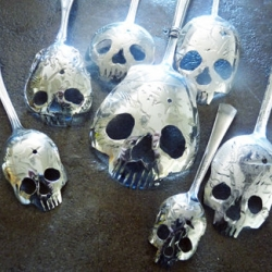 Dallas artist Pinky Diablo, aka Tom Sale takes vintage silverplate and sterling silver spoons and creatively turns them into Skull Spoons of various sizes and styles, all of them eerily beautiful.
