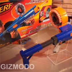 "Nerf Tommy Gun!!! ""Nerf N-Strike Raider CS-35: Lil' Dick Tracy's Automatic Tommy Gun With 35-Dart Drum Magazine"" Gizmodo has a gallery of pics and a video!"