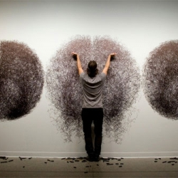 Tony Orrico, the human spirograph. Incredible drawing performances lasting up to 4 hours.