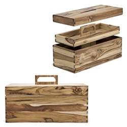 Poritz & Studio Tool Boxes - handmade from reclaimed hardwood in walnut or teak, tool boxes with a smart stacking design (upper tray and lid slot seamlessly through the handle) and all fused with finger joints!