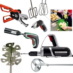 Power tools like you've never seen before... a round up of some of the most fascinating/gorgeous power tools... and the gizmos you can even add on for cake making, bottle opening, pencil sharpening, and more!