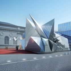 Futuristic Opera Pod Landing in Munich Vienna-based architecture firm COOP HIMMELB(L)AU presented its design for a temporary performance space this week.