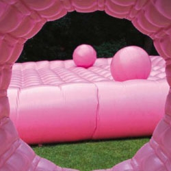 Topotek1's candy-pink temporary playground; part inflatable sculpture, part interactive play object.
