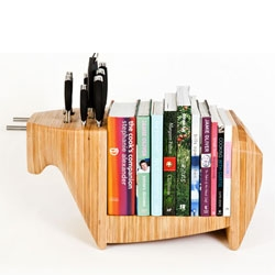 Toro Lgeno's Kitchen Bull, a cute all in one cheeseboard, knifeblock and bookshelf.