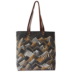 Nell & Mary Mountain Tote Bag with leather straps is handprinted in Portland, OR, and even lovlier in person. (Thanks so much, W+K for the lovely taste of Portland!)