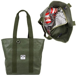 DQM Chinook Cooler Bag ~ Heavy-duty 14oz waxed canvas bag with hidden, zipped cooler compartment that carries cold or hot items (and can fit a 12 pack of beer)