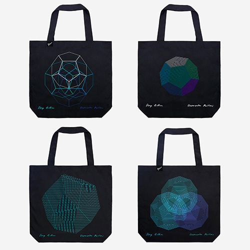 Doug Aitken X Parley #1, #2, and #3 Special Edition Ocean Bag – Artist Series. These limited edition geometric tote bags each remove 20lbs of marine plastic debris, and are created from ~5 intercepeted plastic bottles (Ocean Plastic!)