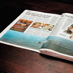 This ad utilised the thickness of the newspaper to create the effect of the wave.