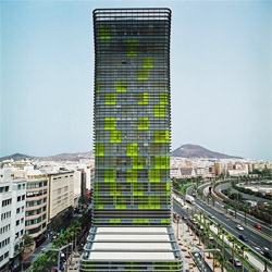 Woermann Tower in Palmas de Canaria, Spain. A colorful leaning tower by Abalos & Herreros.