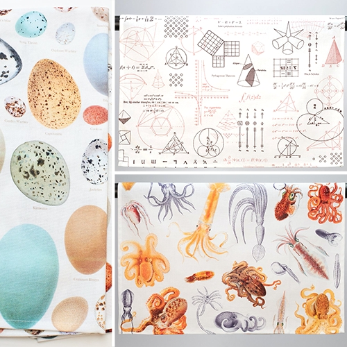 Cognitive Surplus Tea Towels - the eggs would be a great twist to the usual Easter treats... and the octopi, mushrooms, equations, insects, anatomy designs are lovely too!