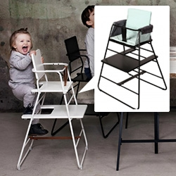 Tower Chair by BudtzBendix ~ adjustable high chair that adapts from 1 year olds up to a normal chair! You can even hang it up on the wall to store it.