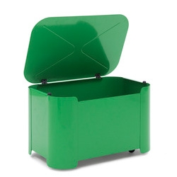 Tolix makes kids stuff! Tortue Toy Box in a stunning shade of green ~ and it has wheels!