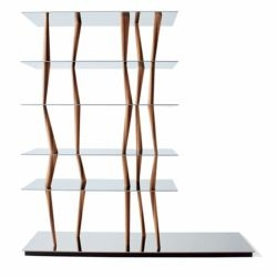 stunning glass, alder and black walnut sendai shelf from japanese architect toyo ito.