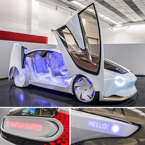 Toyota Concept-i and Yui, the car's AI. Autoblog has a close up look at the exterior and interior of this futuristic vision of human/car interaction.