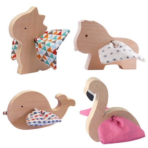 Paulette et Sacha wooden toys with fabric wings/fins!