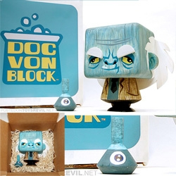 Toys R Evil gets us a sneak peek at Doc Von Block, launching at SDCC - Designed by Scott Tolleson and made out of solid resin (it looks like wood, but it ain't!) by JulieB of Pretty in Plastic