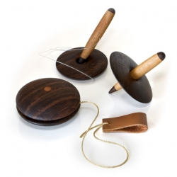 Toys for the Soul consists of a yoyo, spinner, and hole-stick-toys from Singgih Kartono's childhood which he has redesigned by simplifying their form and enhancing them with the use of fine wood.