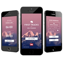 Helly Hansen First Tracks App ~ the gorgeous alarm clock that wakes you up earlier if it has snowed during the night!