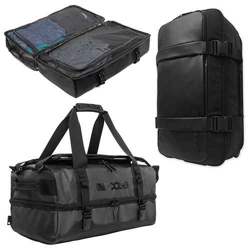 Incase TRACTO Travel Collection - heavy duty weatherproof luggage. Intrigued by the Split Duffel (with backpack straps) and Roller Duffel. They remind me of a cross between the usual North Face/Patagonia duffels and a split roller.