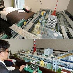 A hotel in Akihabara, Tokyo, has fitted a room with a massive toy train set, modeled on the surrounding area, so that guests can play with the trains when they stay.