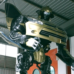 Some guys in Nanjing, China built a life size Transformer. Doesn't change into a car though, but was built using one.