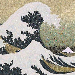 "This triptych is based on the famous Japanese painting, ""The Great Wave off Kanagawa"". Instead of paint, the colors are composed of 2.4 million pieces of plastic - the estimated amount of plastic that enter the world's ocean's every hour!"