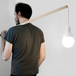 Traveling Light, the pendant lamp created by French designer Jean Charles Amey.