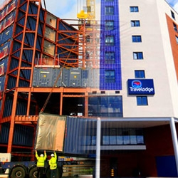 Travelodge is getting their recycle on with this hotel, just outside of London, made completely of old shipping containers!