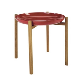 Design House Stockholm's Tablo ~ so simple, teak base with trays that fit perfectly in black, white, red ~ and adorable when you have a few of different heights!