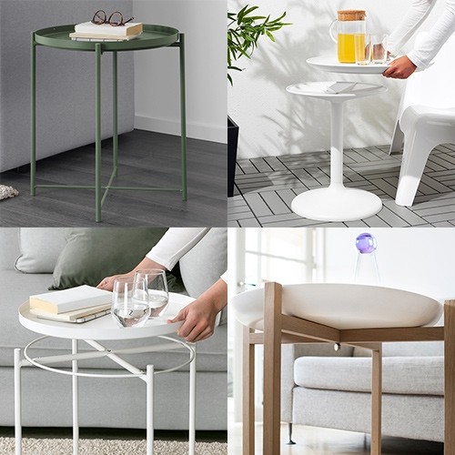 Tray Tables! Tray + Legs = Table! With a versatile modular tray that can be used for serving and flipped to easily keep the top clean when outdoors. Here's a roundup of a few that have caught my eye lately. IKEA is particularly good at them.