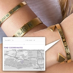 Coordinates Collection - engrave the coordinates of anywhere on jewelry... for the ultimate treasure map/key?