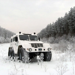 The Trecol is a well designed six wheel truck which can take on the toughest terrain...even designed to float on water!!