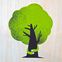 """Us & Them Studios have made an awesome new art print on wood.  """"Treehugger"""" is an 11″ x 14″ screenprint, has an edition of 10, and is $100."""