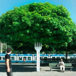 Campaign for Tibits has these giant forks attached to trees around Zurich which create an artful sight gag.
