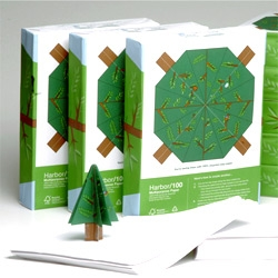 Fun packaging where you can make a little tree with the wrapping of this printer paper... by Frogfile for Hemlock Printers, Frogfile Office Supplies and Grays Harbor Paper