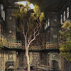 Lori Nix constructs diorama's depicting disaster and decay and then photographs them.