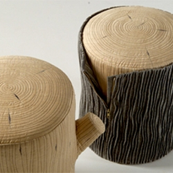The Tree Stools recall the communal atmosphere of sitting around the campfire, but are built for the most elegant silk-upholstered living room.
