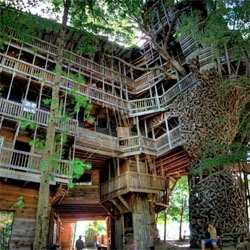 The Minister's House in Crossville, Tennessee is a treetop mansion! The largest tree house in the world. Construction began in 1993. Now , in 2011 it measures 10 stories!