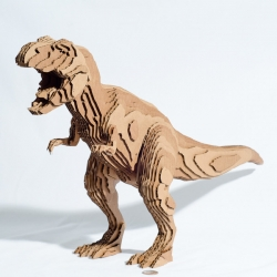 Make your own Tyrannosaurus Rex! He may be cut out of cardboard, but he is still a fearsome guy.