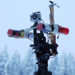 RC Sentry gun and RC Tricopter modded with fireworks gun do battle in the skies over Sweden