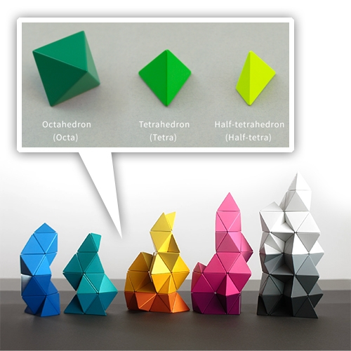 Trido are Magnetic Building Block Toys based on platonic solids (octahedrons, tetrahedrons, and half tetrahedrons.)